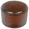 Paulette Small Brown Round Ottoman