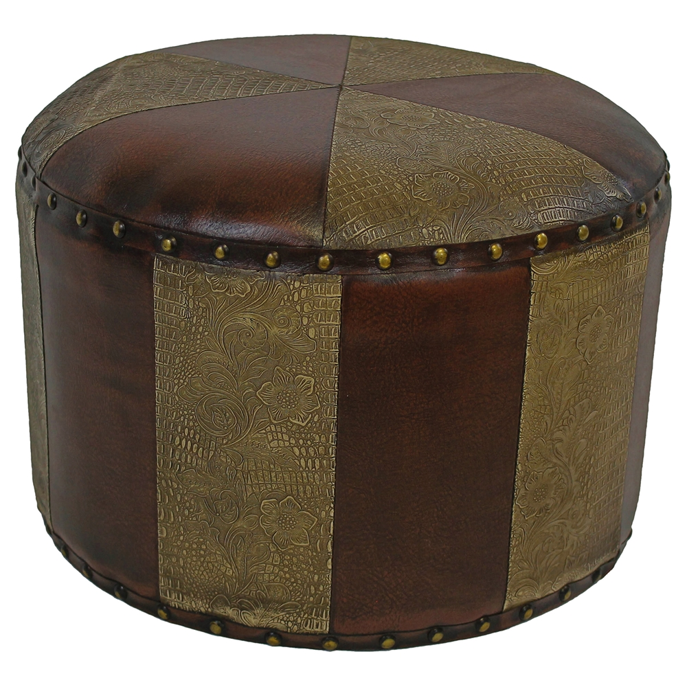 Paulette Small Patterned Round Ottoman Dcg Stores