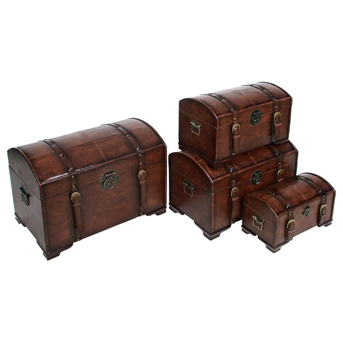 Treasure Island Set Of 4 Trunks Brown Dcg Stores