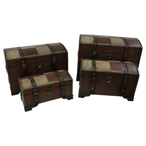 Treasure Island Set of 4 Trunks - Mix Pattern