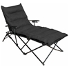 Redford Folding Chaise Lounge - Carry Bag, Black Microsuede - INTC-ZS-C821L-PD-BK