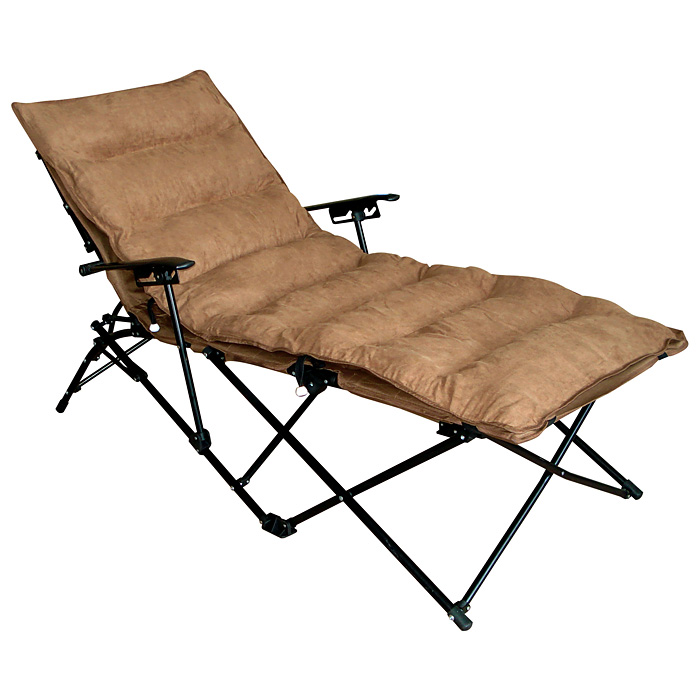 Redford Folding Chaise Lounge - Carry Bag, Saddle Brown - INTC-ZS-C821L-PD-SB