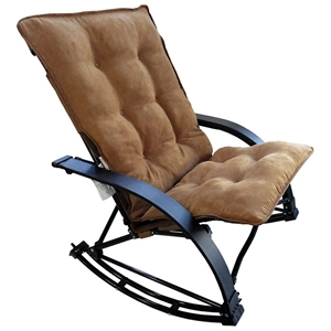 Redford Folding Rocker Chair - Saddle Brown Microsuede