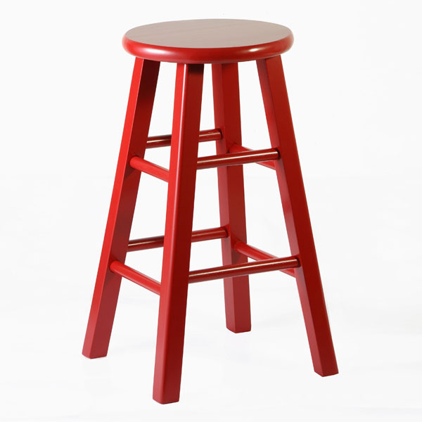 "Wooden 24"" Counter Height Round Top Stool"