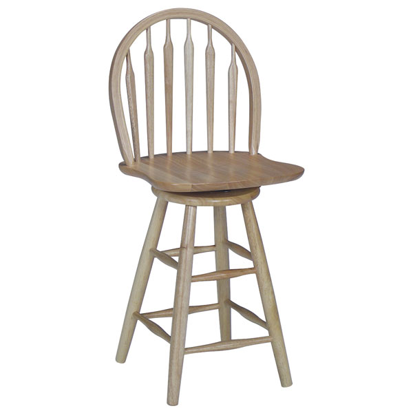 "Wooden 24"" Counter Swivel Arrowback Stool"