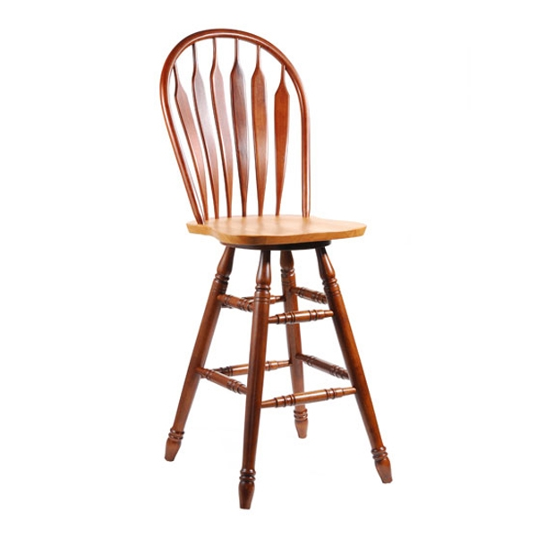 "Wooden 30"" Swivel Bar Stool in Steambent Arrowback"
