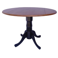Round Dual Drop Leaf Pedestal Table - Multiple Colors