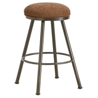 "Alexander 26"" Backless Swivel Counter Stool - Round Seat, Rust, Chenille"