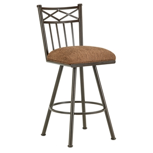 "Alexander 30"" Armless Swivel Bar Stool - X Motif, Rust, Chenille"