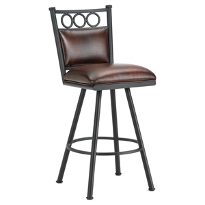 "Waterson 26"" Armless Swivel Counter Stool - Padded, Lamp Black, Alligator Leather"