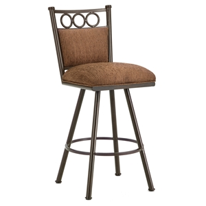 "Waterson 26"" Armless Swivel Counter Stool - Padded, Rust, Chenille"