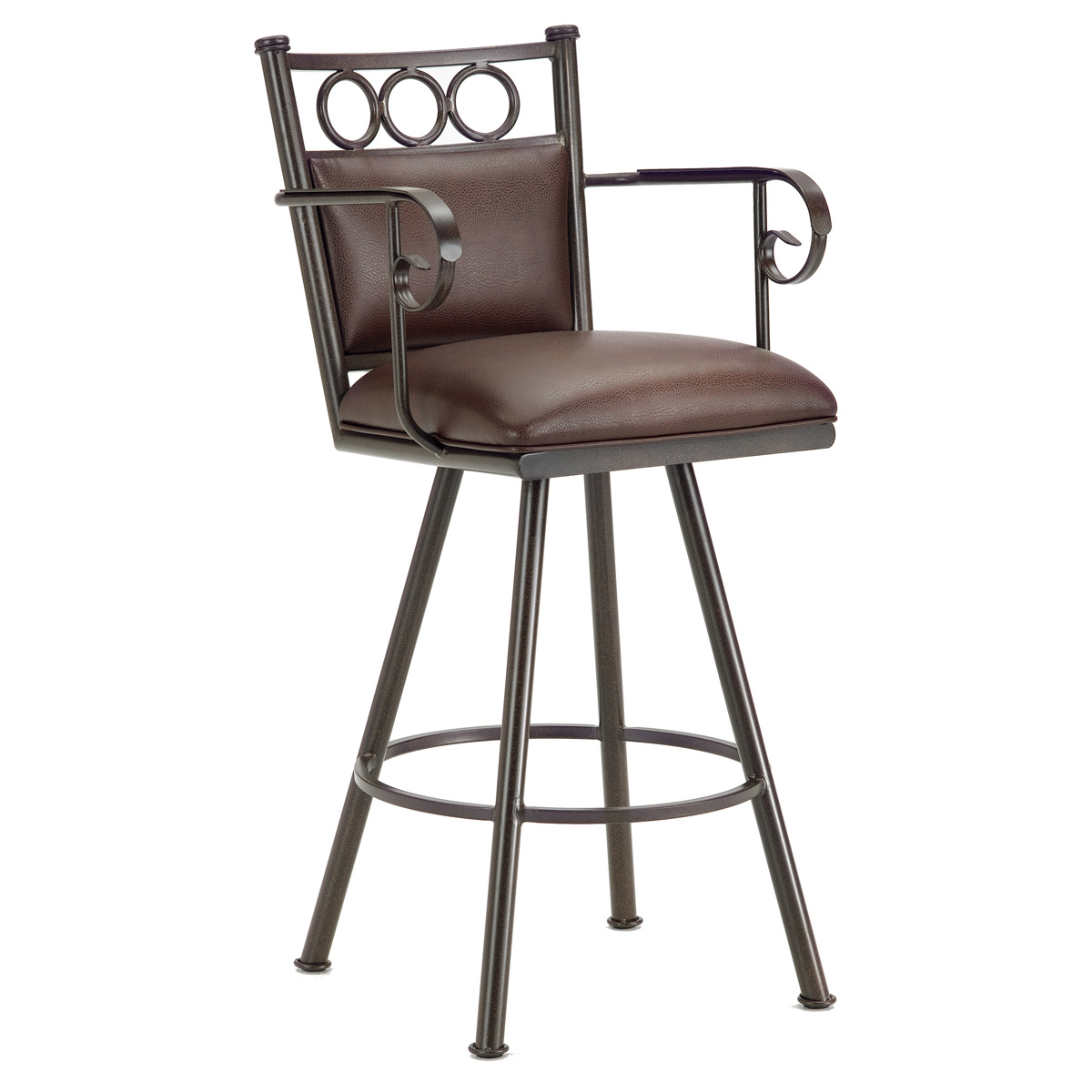 Waterson 30 Quot Swivel Bar Stool Armrests Padded Rust
