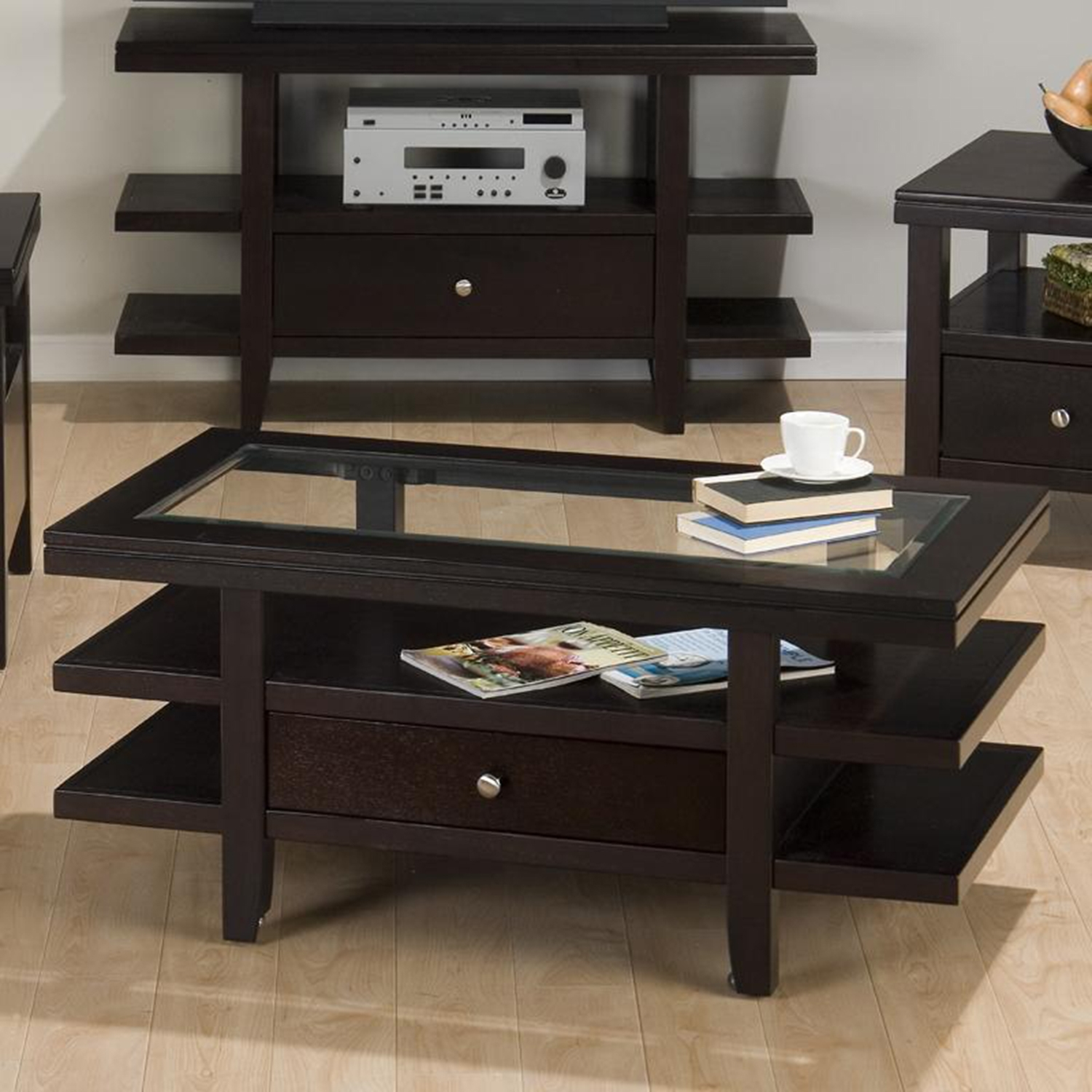 Marlon Rectangle Cocktail Table - 3 Tier Shelves, Wenge - JOFR-091-1
