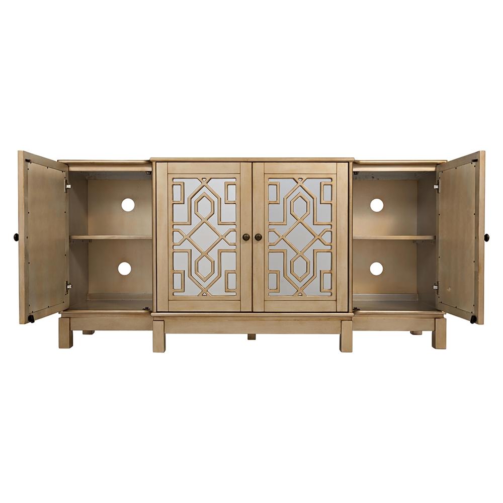 Casa bella 70 mirrored console champagne gold dcg stores for Casa bella