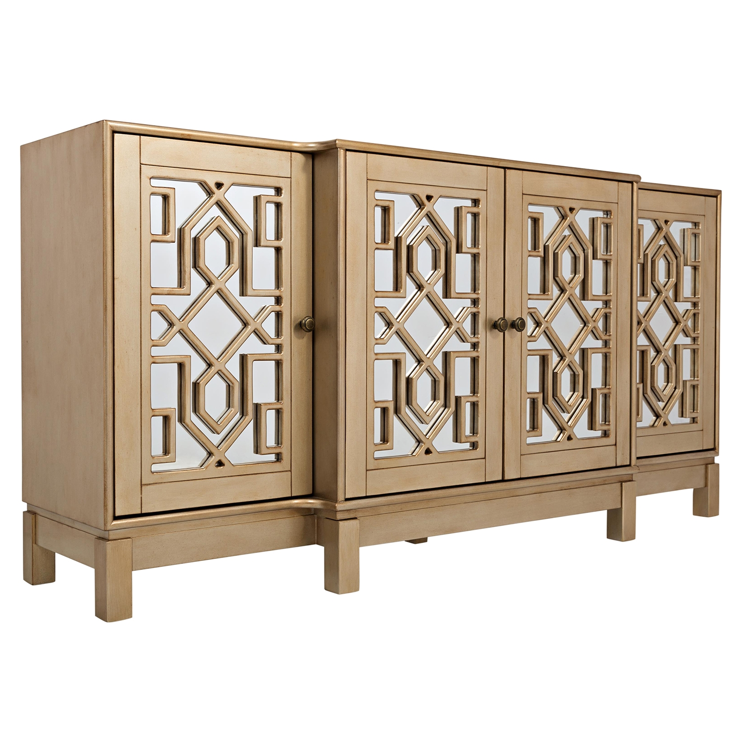 "Casa Bella 70"" Mirrored Console Champagne Gold"
