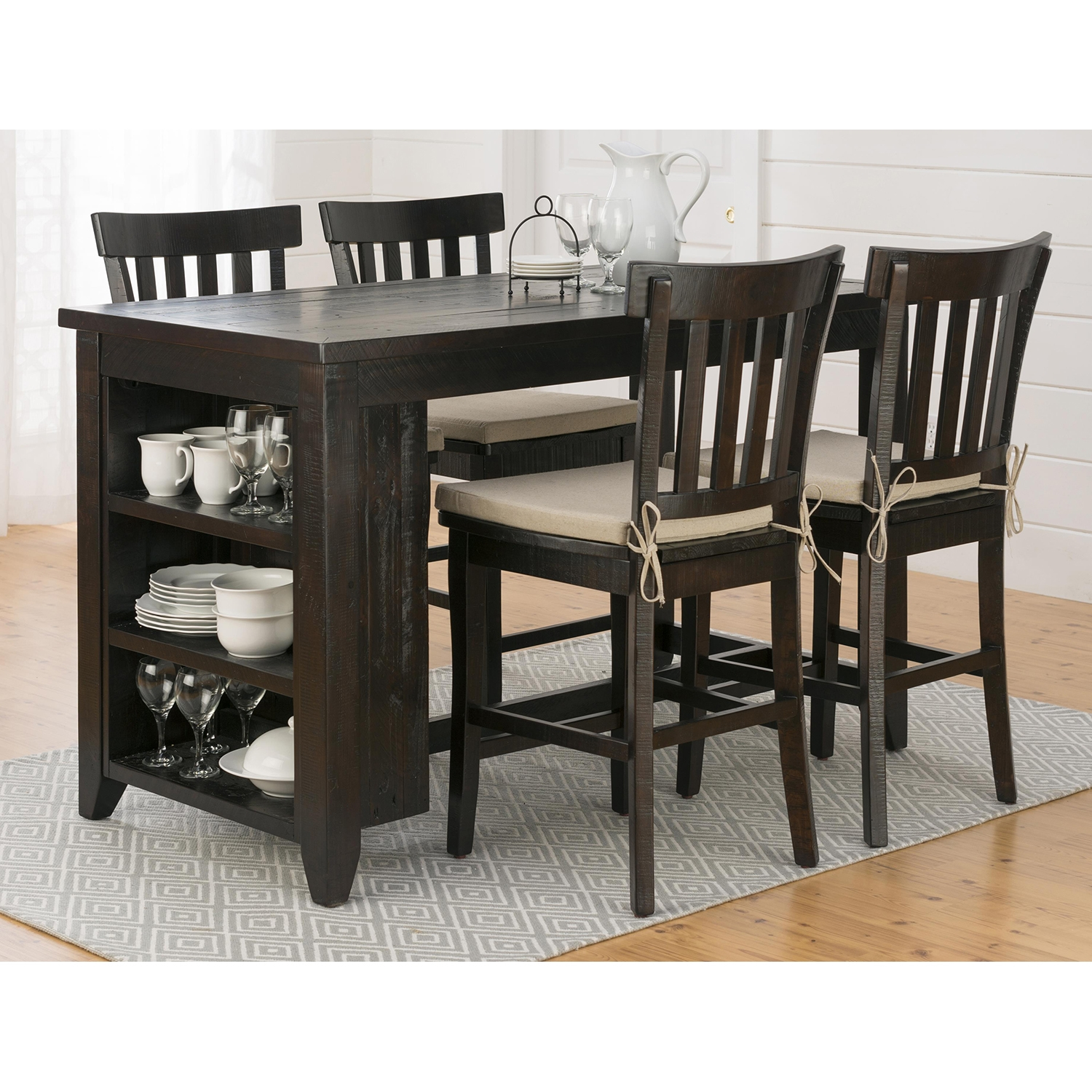 Prospect Creek Counter Height Table - Dark Brown, 3-Shelf Storage - JOFR-257-60
