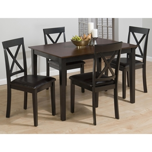Burly 5 Pieces Dining Set - Brown and Black