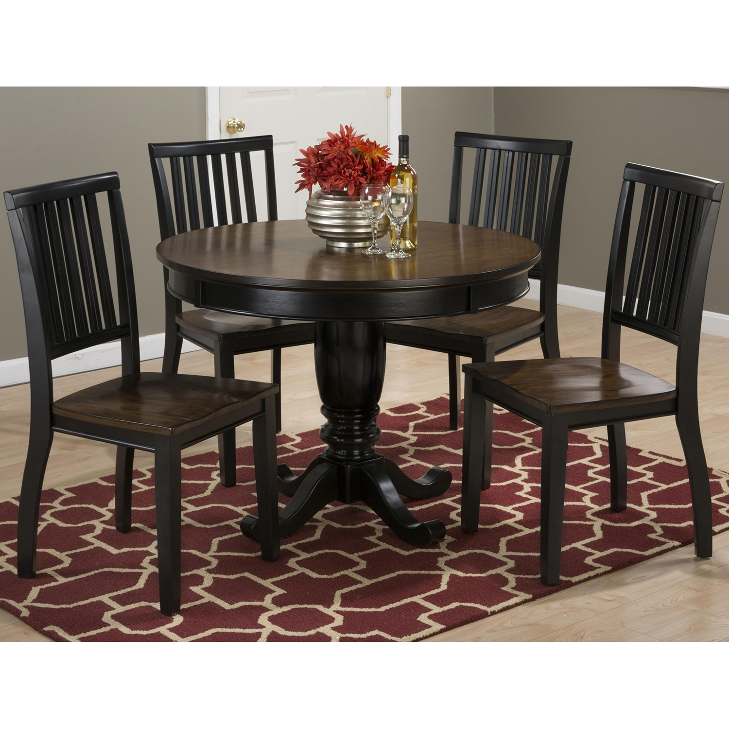 "Braden 42"" Round Dining Table - Antique Black, Pedestal Base - JOFR-272-42TBKT"