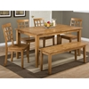 Simplicity 5 Pieces Dining Set - Rectangle Table, Grid Back Chairs, Honey - JOFR-352-60-939KD-SET