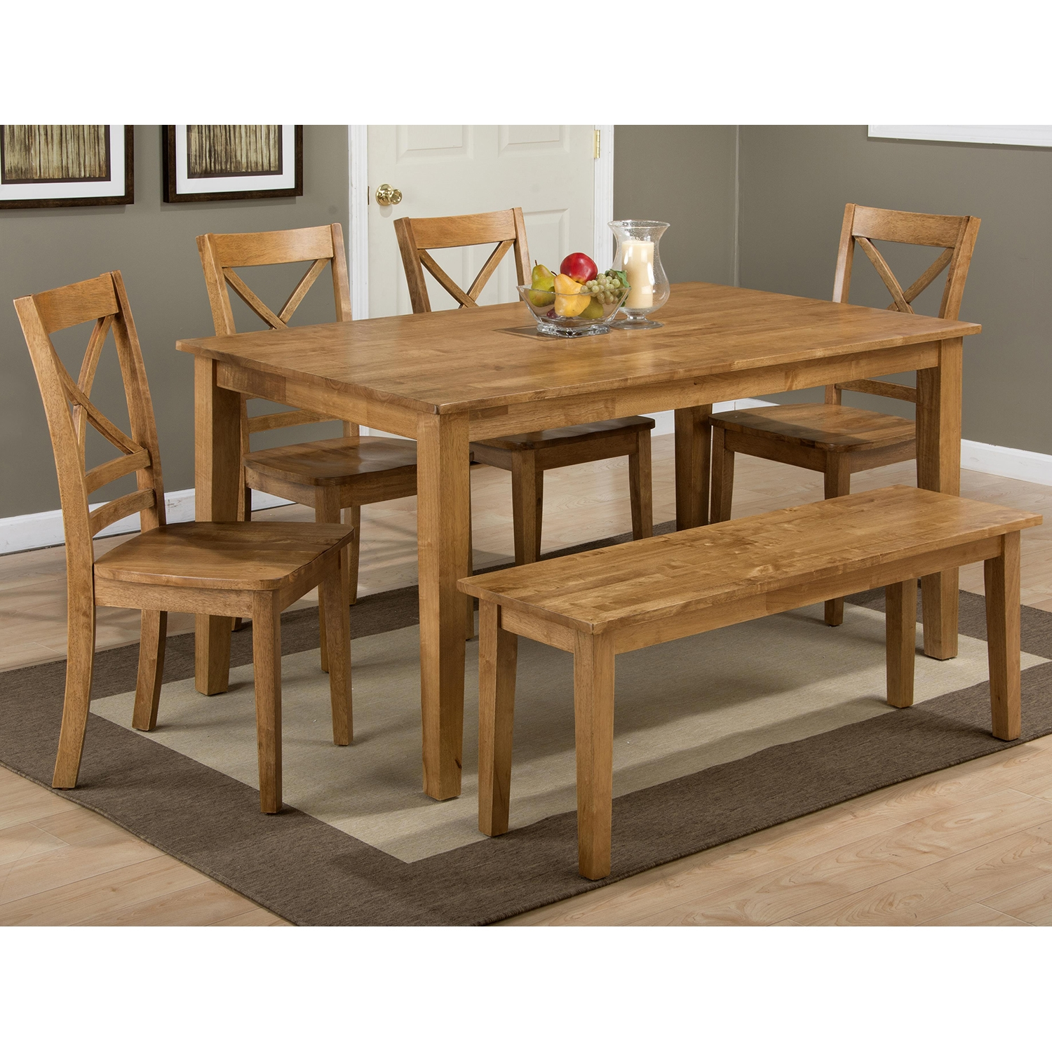 Simplicity 5 Pieces Dining Set - Rectangle Table, X Back Chair, Honey - JOFR-352-60-806KD-SET