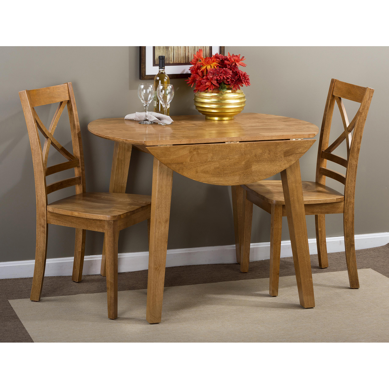 Simplicity 5 Pieces Dining Set - Round Table, X Back Chair, Honey - JOFR-352-28-806KD-SET