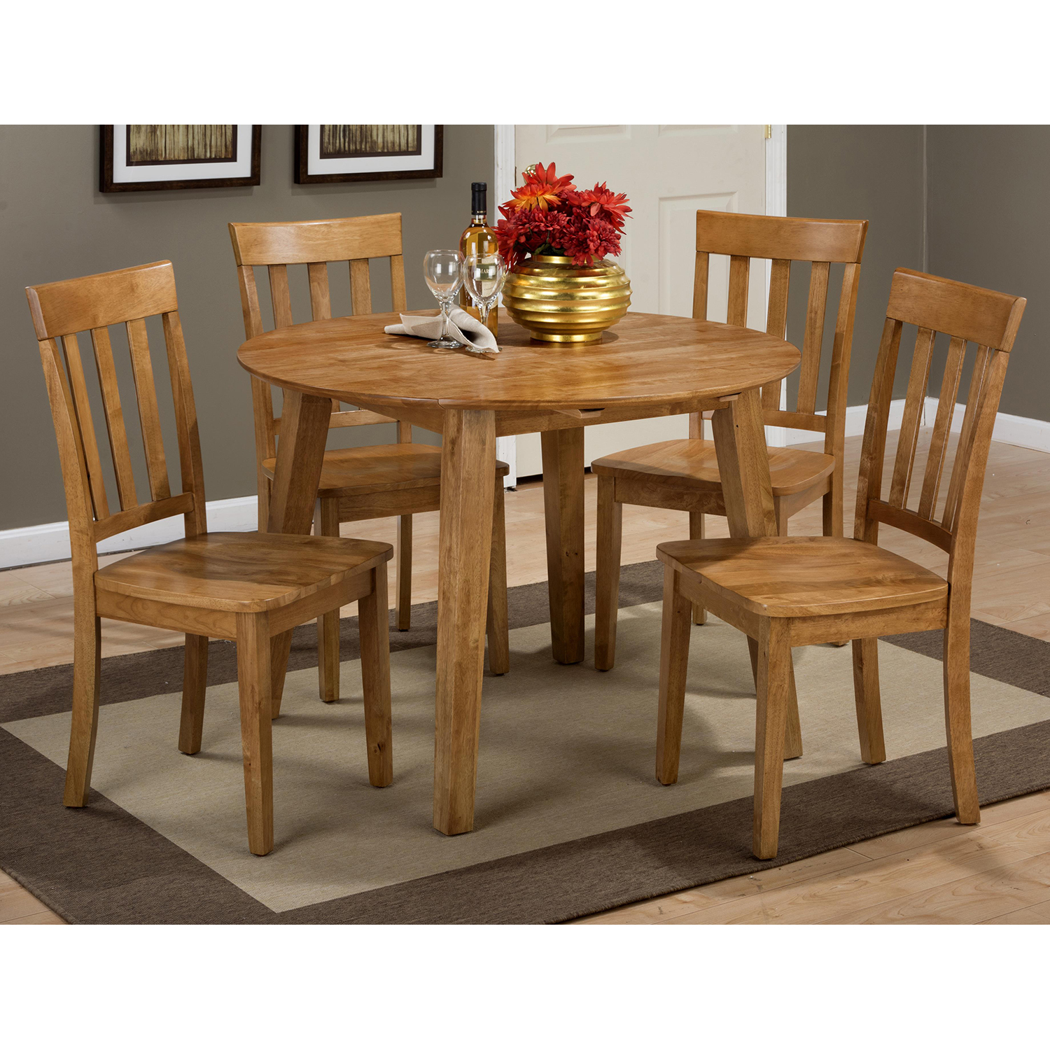 Simplicity 5 Pieces Dining Set - Round Table, Slat Back Chair, Honey - JOFR-352-28-319KD-SET