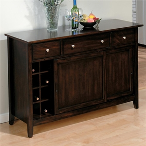 Bakers Server - 3 Drawers, Sliding Doors, Cherry