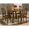 Simplicity 5 Pieces Dining Set - Round Table, Slat Back Chairs, Caramel - JOFR-452-28-319KD-SET