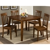 Simplicity 5 Pieces Dining Set - Square Table, Slat Back Chairs, Caramel - JOFR-452-42-319KD-SET