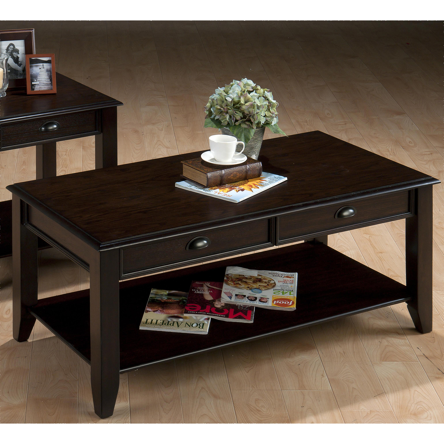 Bartley Cocktail Table - 2 Drawers, Oak - JOFR-459-1