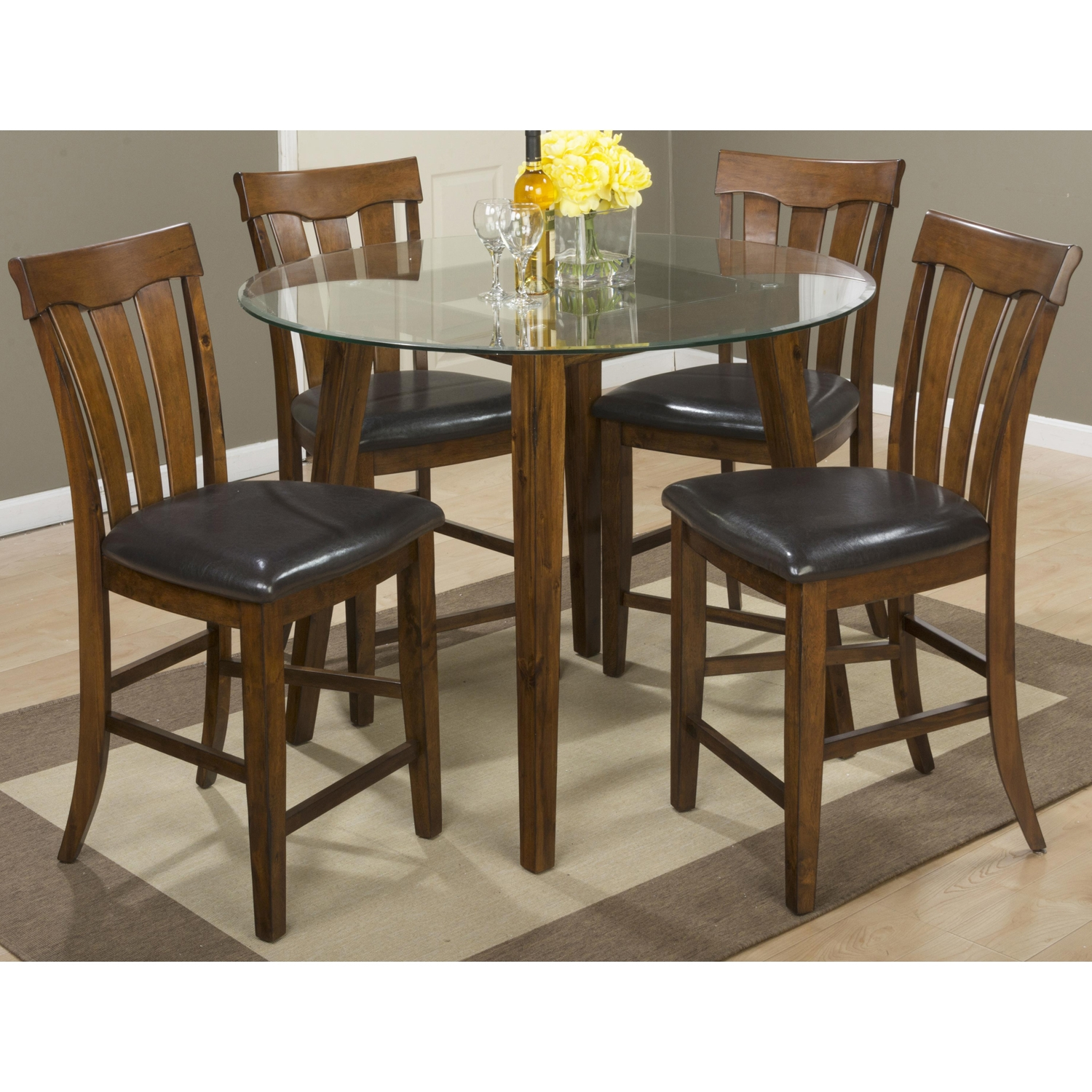 Plantation 5 Pieces Counter Height Dining Set - Glass Top - JOFR-505-50BG48RDKT-BS423KD-SET