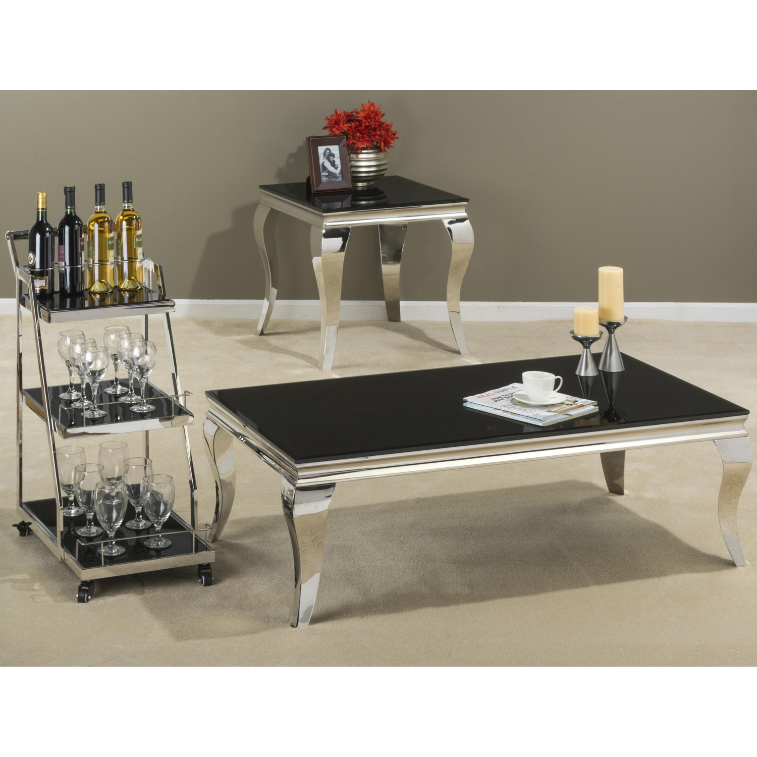 Tuxedo End Table - Stainless Steel and Black - JOFR-531-3