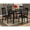 Simplicity 5 Pieces Dining Set - Slat Back Chairs, Round Table, Espresso - JOFR-552-28-319KD-SET
