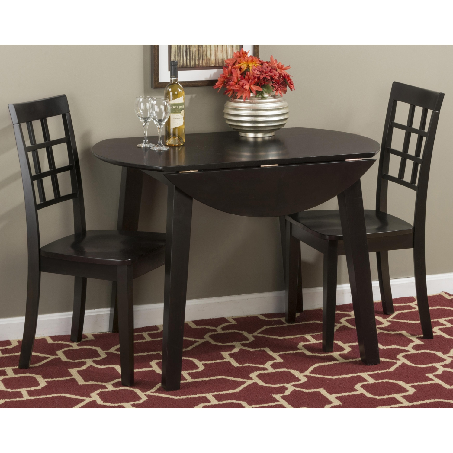 Simplicity 5 Pieces Dining Set - Grid Back Chairs, Round Table, Espresso - JOFR-552-28-939KD-SET
