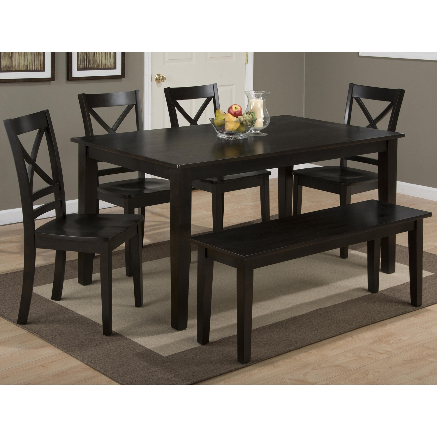 Simplicity 5 Pieces Dining Set - X Back Chairs, Rectangle Table, Espresso - JOFR-552-60-806KD-SET