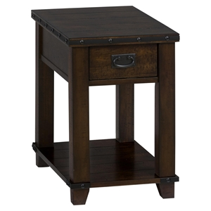 Cassidy Chairside Table - Plank Top, Dark Brown