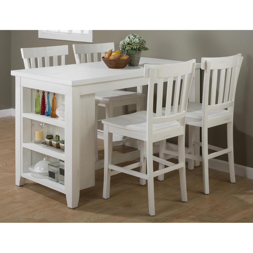 Madaket Counter Height Table 3 Shelves Storage White