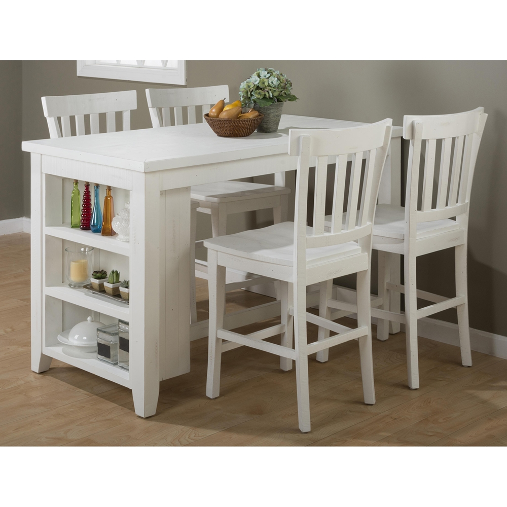Madaket counter height table 3 shelves storage white for Small kitchen table with storage