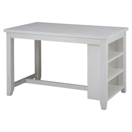 Madaket Counter Height Table 3 Shelves Storage White