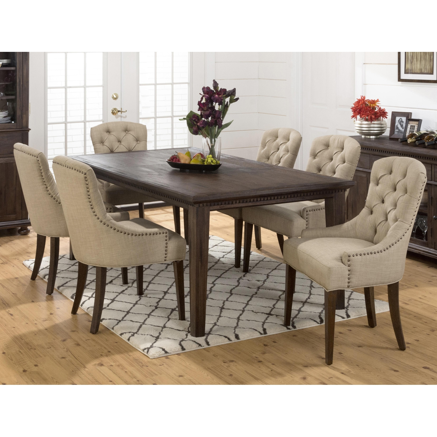 Geneva Hills 7 Pieces Dining Set   Rectangle Table, Tufted Side Chairs    JOFR  ...