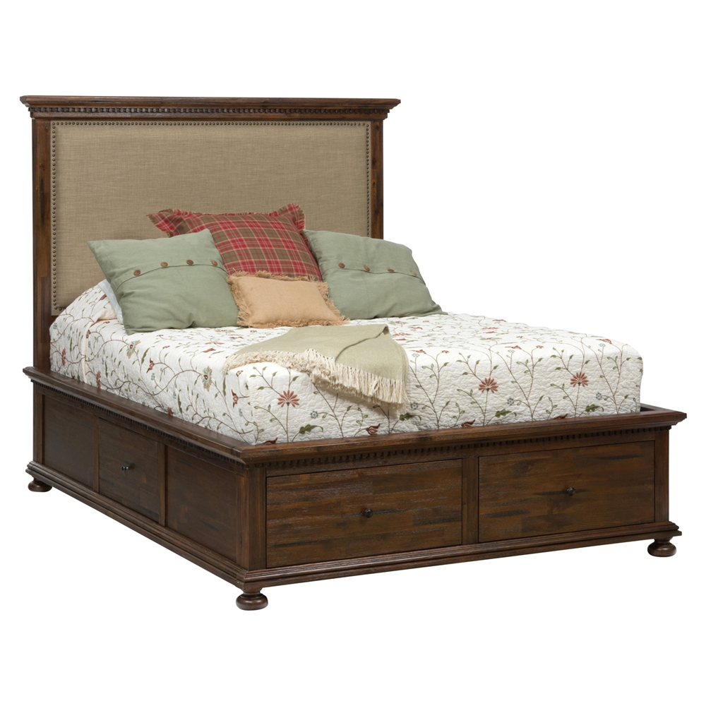 Geneva hills storage bed upholstered headboard dcg stores for Upholstered king bed with storage