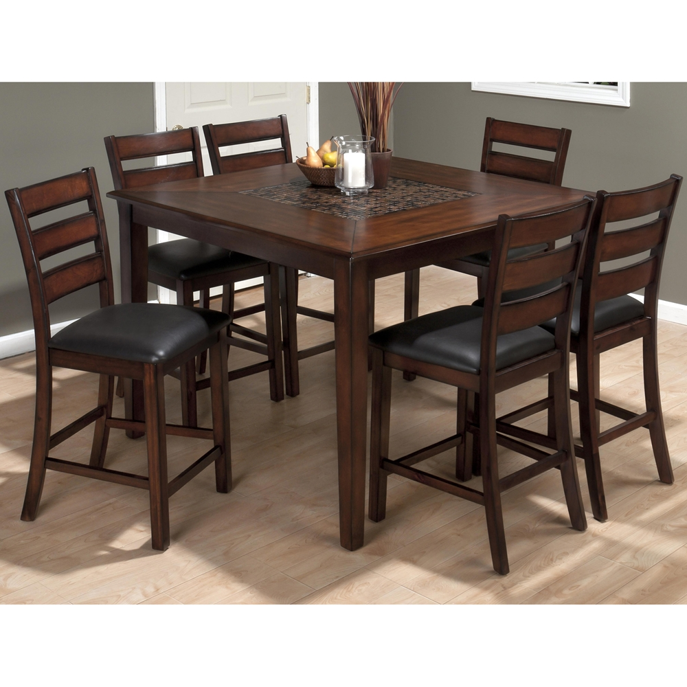 Baroque Counter Height Dining Table Mosaic Inlay Brown