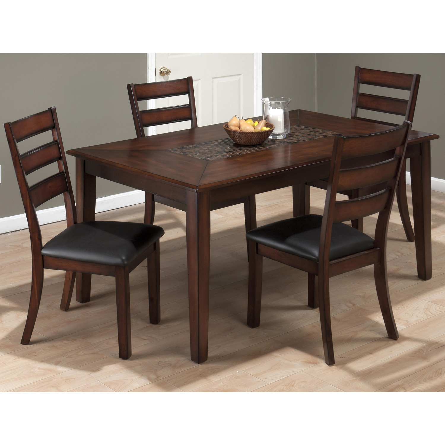 Baroque 5 Pieces Dining Set - Mosaic Inlay, Brown - JOFR-697-64-923KD-SET