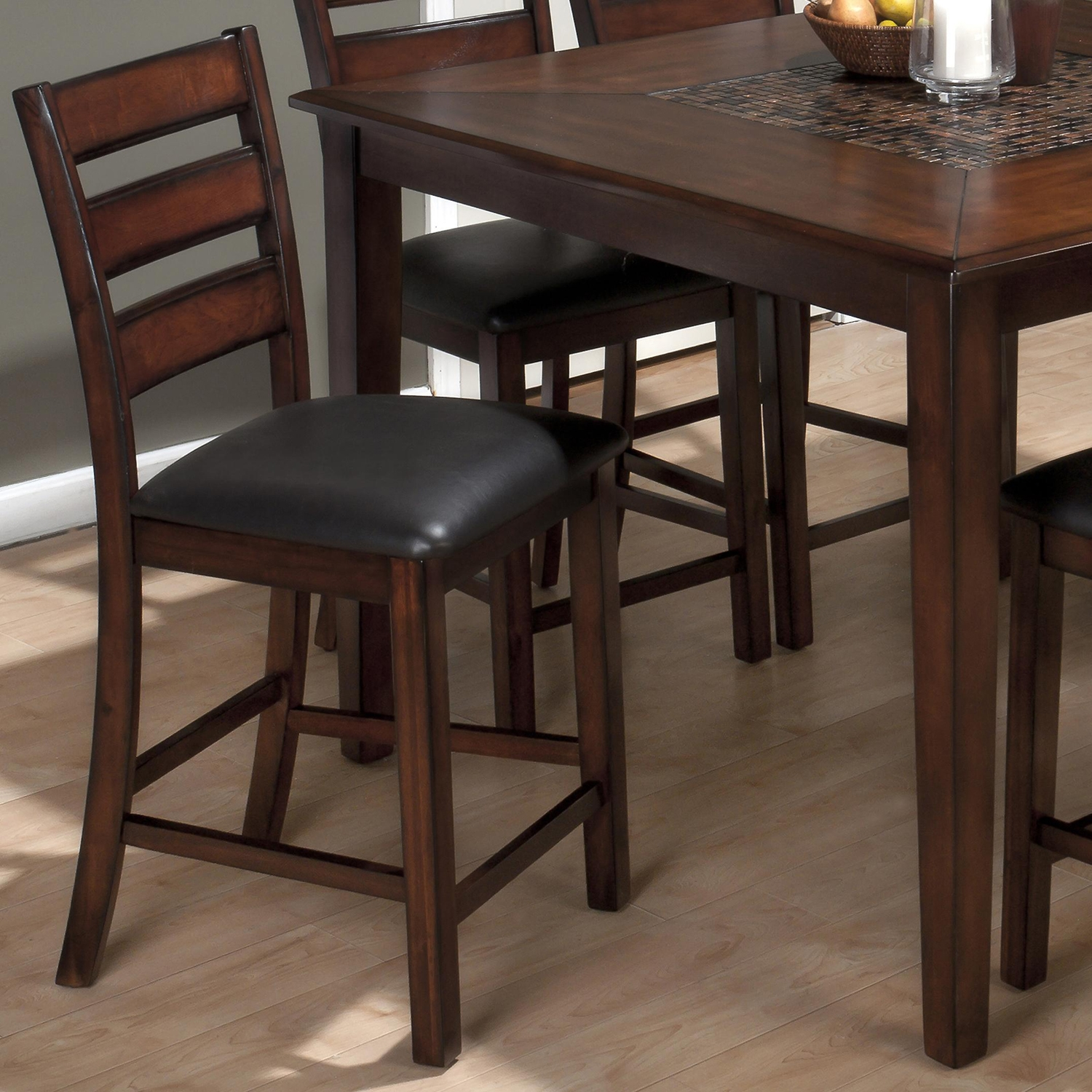 Baroque 7 Pieces Counter Dining Set - Mosaic Inlay, Brown - JOFR-697-50-BS923KD-SET