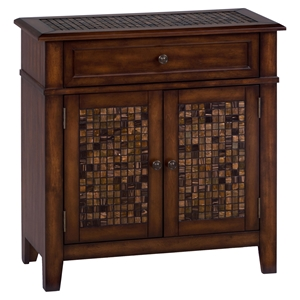 Baroque Accent Cabinet - Mosaic Tile Inlay, Brown