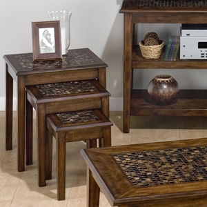 Baroque Nesting Tables - Mosaic Tile Inlay, Brown