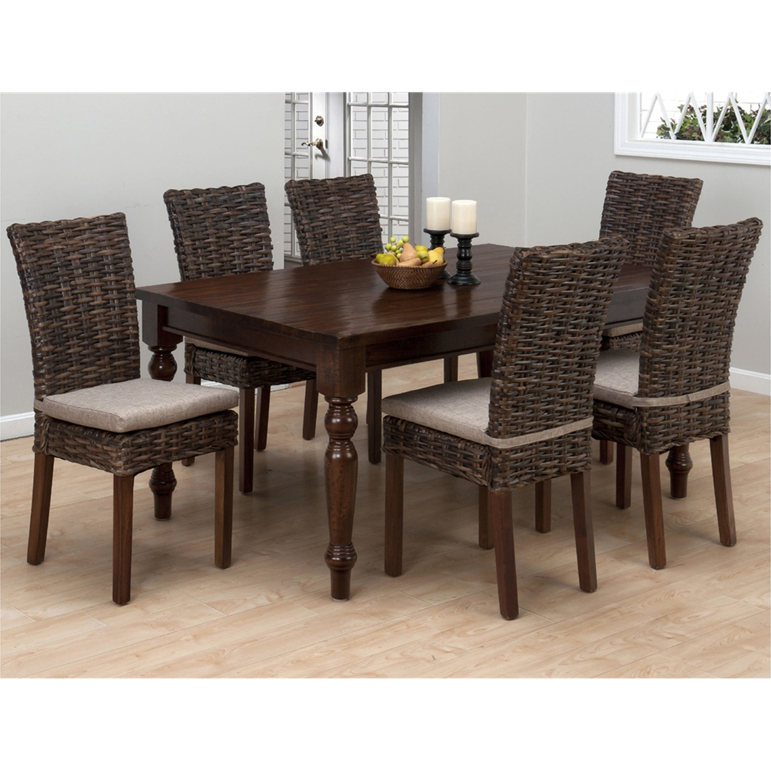 Urban Lodge 7 Pieces Dining Set - Rattan Chairs, Fixed Top Table, Brown - JOFR-733-66-401-SET