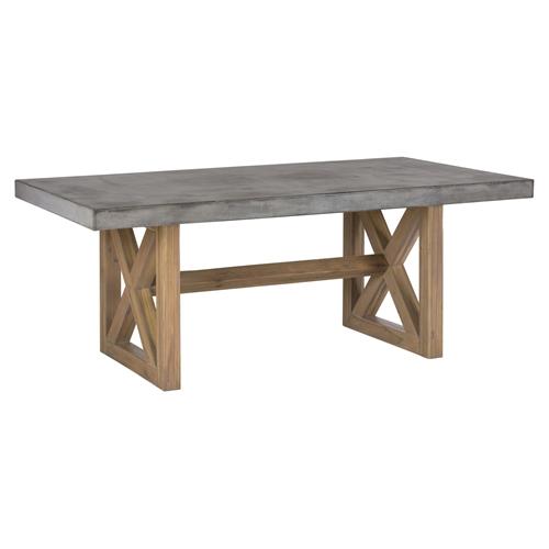 boulder ridge rectangle dining table concrete top pedestal base dcg stores. Black Bedroom Furniture Sets. Home Design Ideas