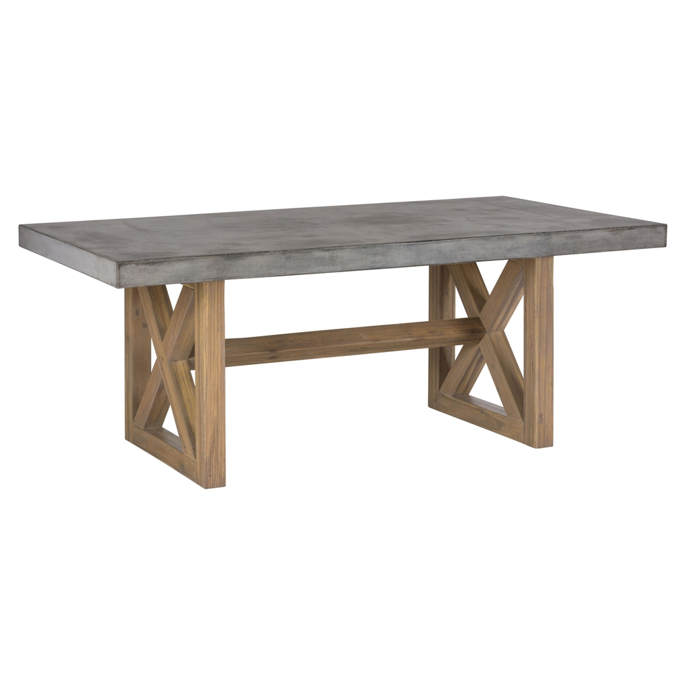 Boulder ridge rectangle dining table concrete top for Rectangle dining table