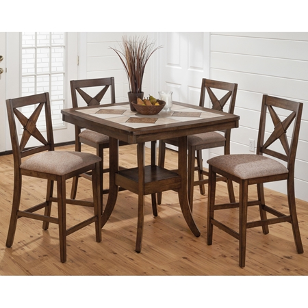 Tucson 5 Pieces Counter Dining Set Ceramic Tile Brown Dcg Stores
